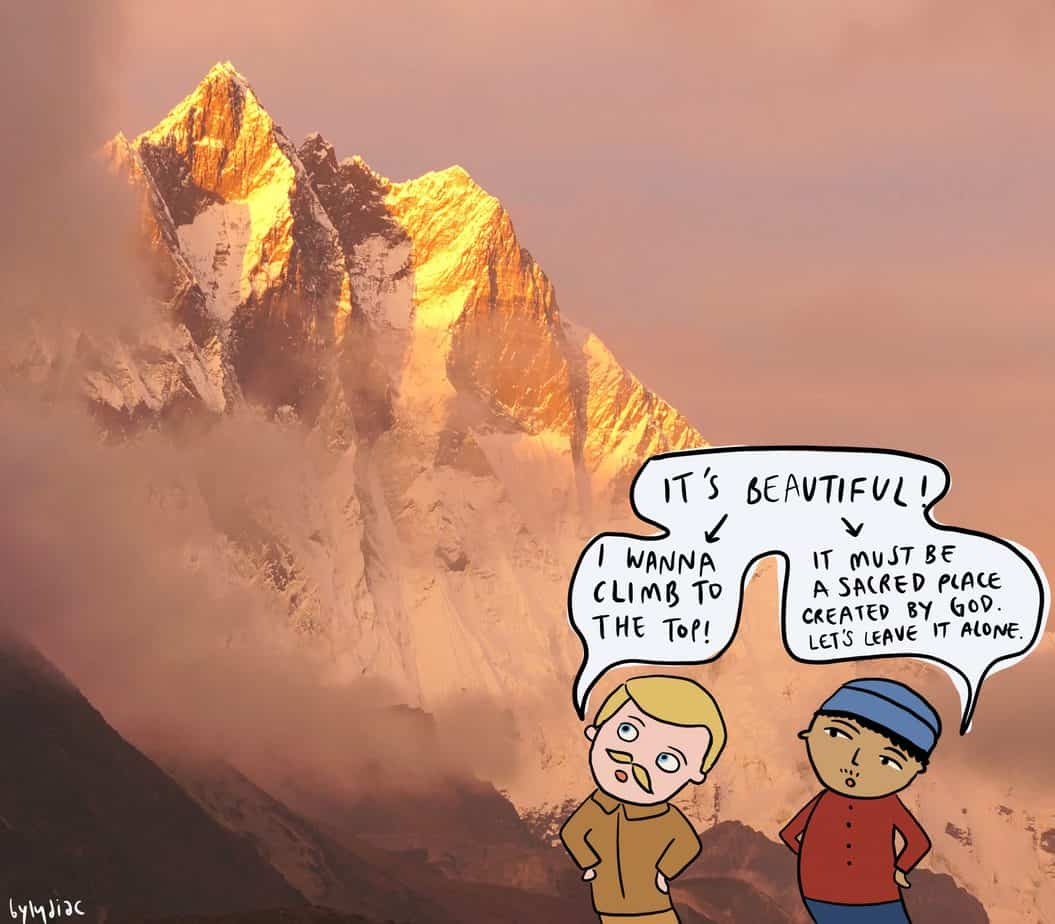 british and nepal man look up at a mountain with different goals