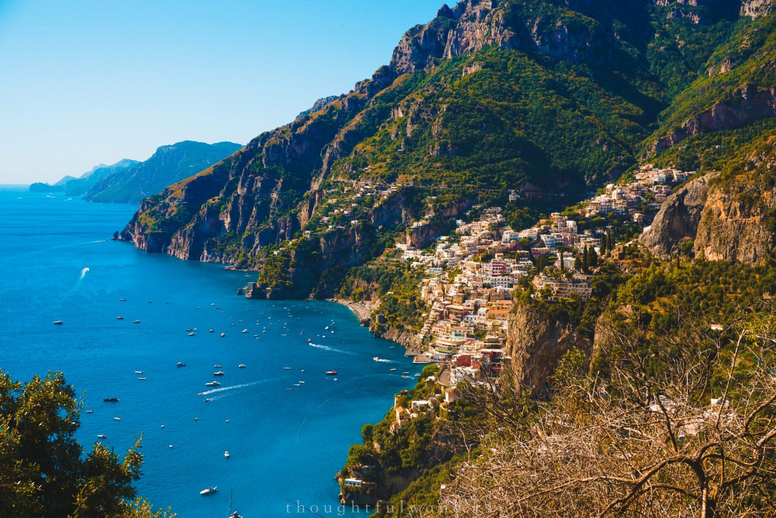 View of Positano from a distance
