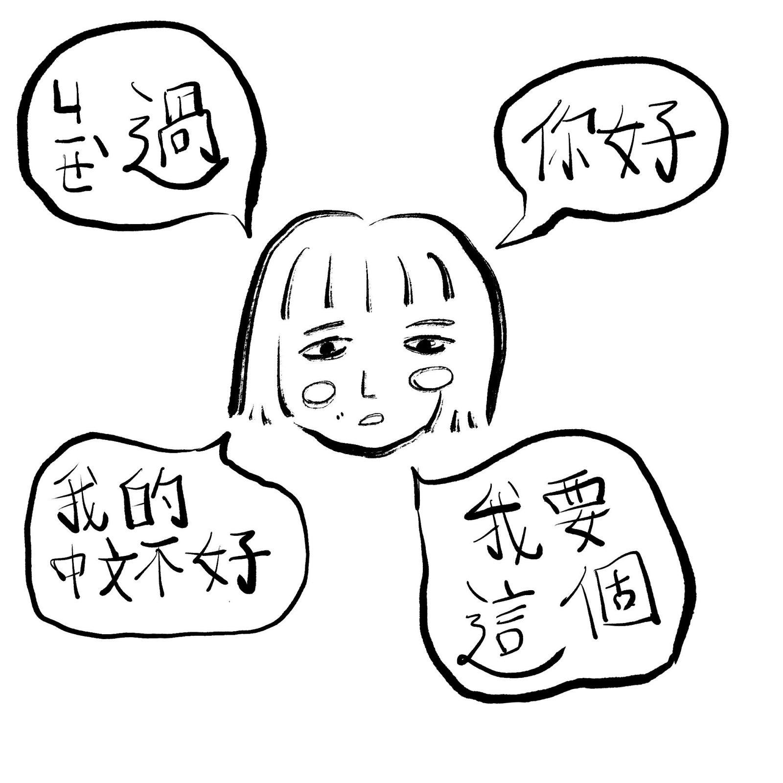 Illustrated character with broken mandarin speech bubbles
