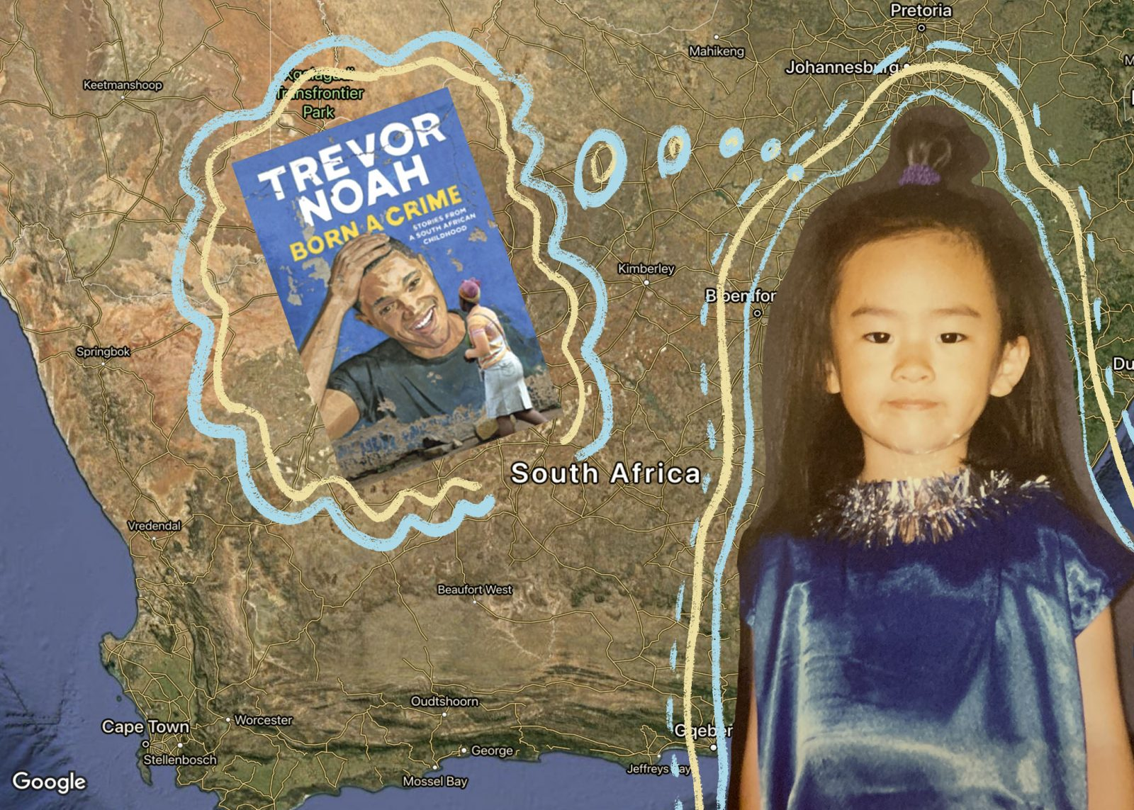 collage of young asian girl growing up in south africa and thoughts on reading born a crime by trevor noah